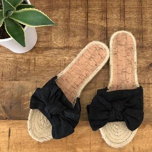 Black Knotted Espadrille Slides